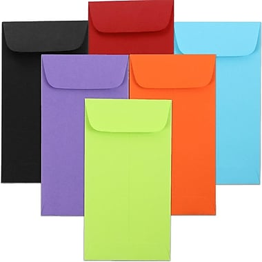 JAM Paper® #7 Coin Envelopes, 6.5 x 3.5, Brite Hue Assorted, 150/Pack (1526727)