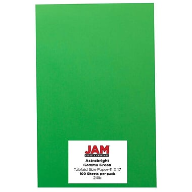 JAM Paper® Bright Colour Tabloid Paper, 11 x 17, 24lb AstroBrights® Gamma Green, 100/Pack (16728459)