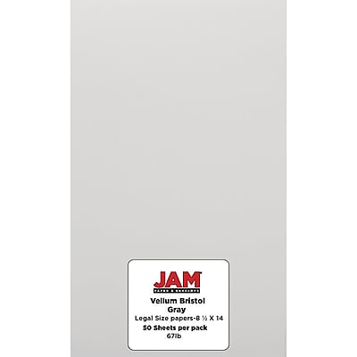 JAM Paper® Vellum Bristol Legal Cardstock, 8.5 x 14, 67lb Grey, 50/pack (16928442)