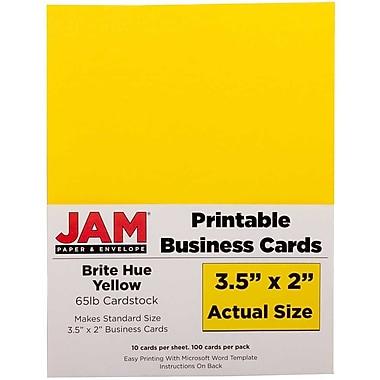 JAM Paper® – Cartes professionnelles double face imprimables, 3 1/2 po x 2 po, jaune recyclé, paq./500 (22128336g)