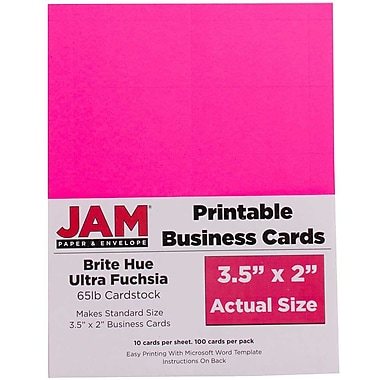 JAM PaperMD – Cartes professionnelles imprimables, 3 1/2 x 2 po, rose fuchsia, paq./500