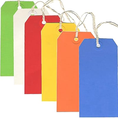 JAM Paper® Gift Tags with String, Medium, 2 3/8 x 4 3/4, Multicolor, 60/pack (39197127)
