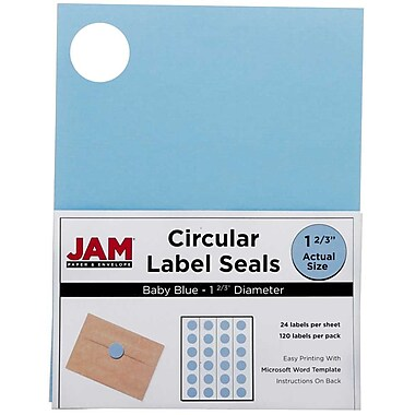 JAM Paper® Round Circle Label Sticker Seals, 1 2/3 inch diameter, Baby Blue, 120/pack (40528290)