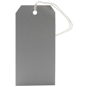 JAM Paper Gift Tags with String, Medium, 4 3/4 x 2 3/8, Grey, 10/Pack (91927644)