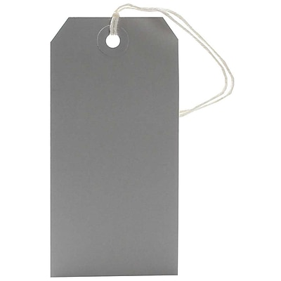 JAM Paper® Gift Tags with String, Medium, 2 3/8 x 4 3/4, Grey, 10/pack (91927644)