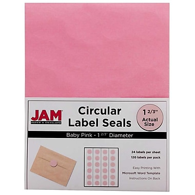 JAM Paper® Round Circle Label Sticker Seals, 1 2/3 inch diameter, Baby Pink, 120/pack (147628279)