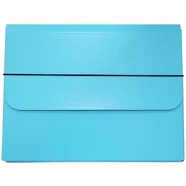 JAM Paper® Thick Portfolio Carrying Case with Elastic Band Closure, 10 x 13.25, Sky Blue, 2/Pack (154528516g)