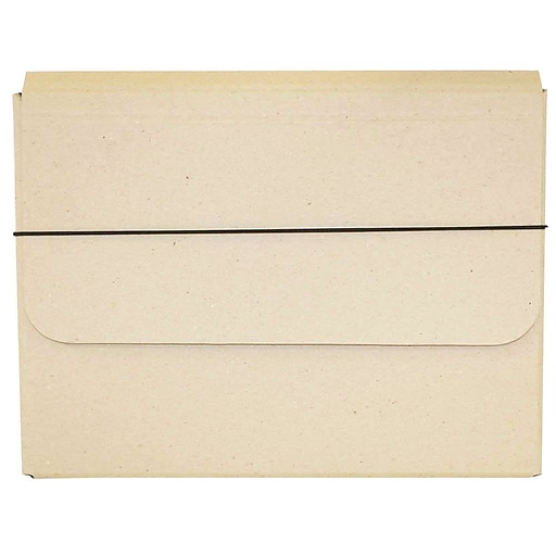 JAM Paper® Thick Portfolio File Carrying Case with Elastic, 10 x 1 1/4 x 13 1/4, Natural Kraft, Sold Individually (154528517)