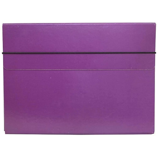 JAM Paper® Thin Portfolio File Carrying Case with Elastic Band, 9 1/4 x 1/2 x 12 1/2, Purple, Sold Individually (154528545)