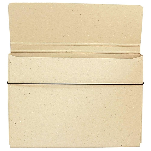 JAM Paper® Thin Portfolio File Carrying Case with Elastic, 9 1/4 x 1/2 x 12 1/2, Natural Kraft, Sold Individually (154528546)