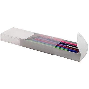 JAM Paper – Étui à crayons coulissant avec bouton pression, transparent (166528310)