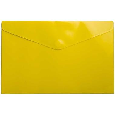JAM Paper – Enveloppe de plastique de style livret, 9 3/4 x 14 1/2 po, jaune, 12/paquet