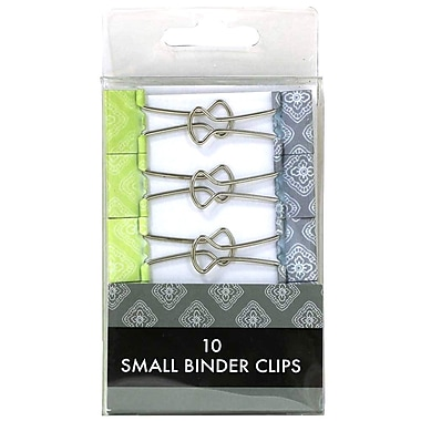 JAM Paper® Colored Binder Clips, Small, 19mm, Green and Grey Binderclips, 10/pack (336128597)