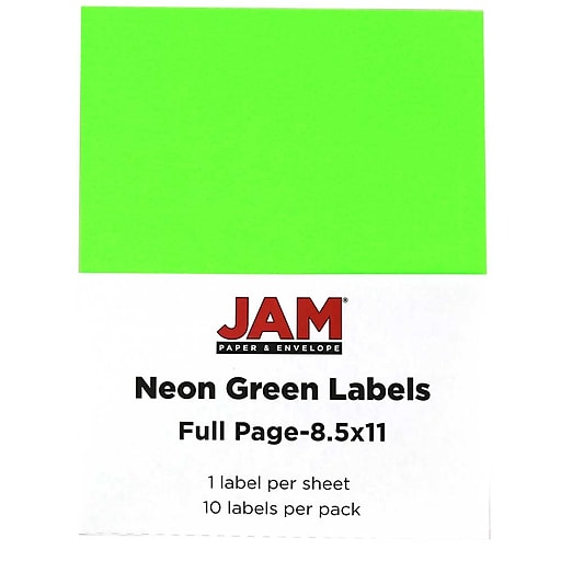 jam paper full page labels 8 5 x 11 sticker paper neon green 10