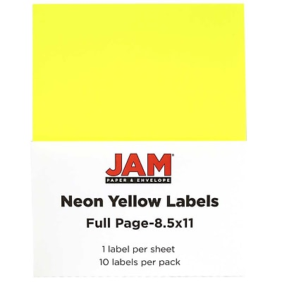 JAM Paper® Full Page Labels, 8.5 x 11 Sticker Paper, Neon Yellow, 10/pack (337628611)