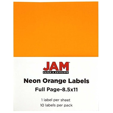 JAM Paper® Full Page Labels, 8.5 x 11 Sticker Paper, Neon Orange, 10/pack (337628613)