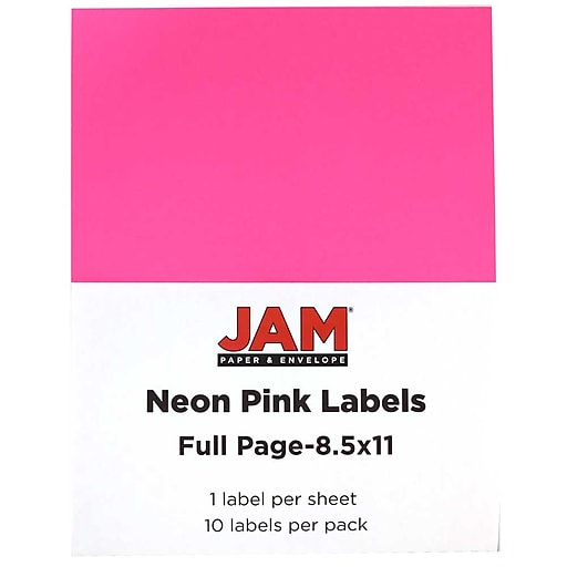 JAM Paper® Shipping Labels, Full Page, 8 1/2 x 11 Sticker Paper, Neon Pink, 10/Pack (337628614)