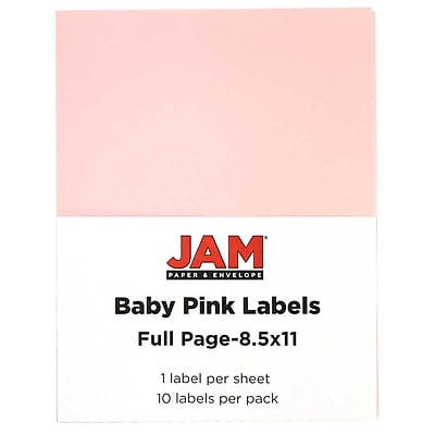 JAM Paper® Full Page Labels, 8.5 x 11 Sticker Paper, Baby Pink, 10/pack (337628615)