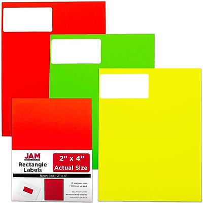 JAM Paper® Mailing Address Labels, 2 x 4, Neon Assorted, 3 packs of 120, 360/set (354328027)
