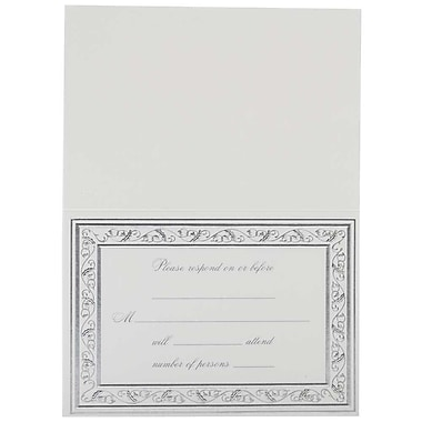 JAM Paper® Fill-in Wedding Reply Card Set, Elegant Silver Border, 2 packs of 25 (354628403g)