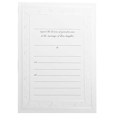 JAM Paper® Fill-in Wedding Invitation Set, Shiny Ivory Border, 25/Pack (354628404)