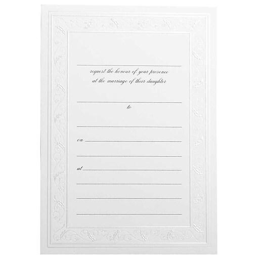 JAM Paper® Wedding Fill-In Invitations Set, Shiny Ivory Border, 25/Pack (354628404)