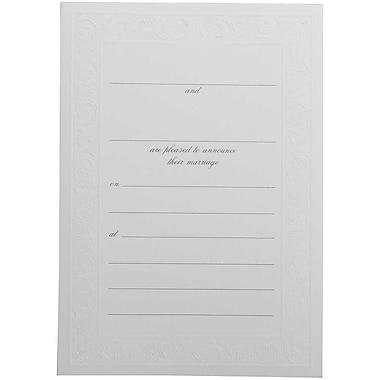 JAM Paper® Fill-in Wedding Invitation Set, White Elegant Border, 25/pack (354628417)