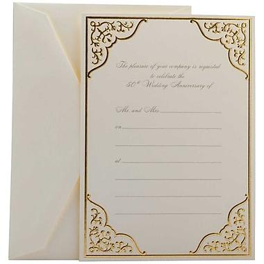 JAM Paper – Ensemble de cartes d'invitation de mariage, doré, 7,75 po, 25/paquet