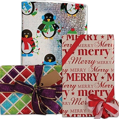 JAM Paper® Christmas Holiday Gift Wrapping Paper, 25 sq. ft., Assorted Christmas Design, 6/Pack (1655243512g)