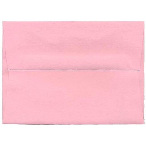 JAM Paper® A6 Invitation Envelopes, 4.75 x 6.5, Baby Pink, 50/Pack (155625I)