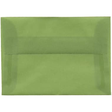 JAM Paper® 4bar A1 Envelopes, 3 5/8 x 5 1/8, Translucent Vellum Leaf Green, 250/box (1591611H)