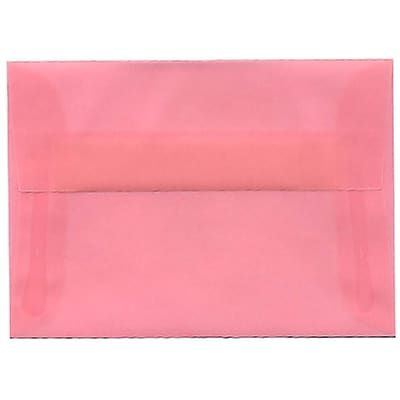 JAM Paper® 4bar A1 Envelopes, 3 5/8 x 5 1/8, Translucent Vellum Blush Pink, 50/pack (1591615I)