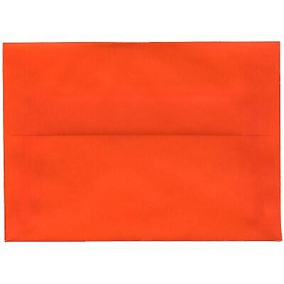 JAM Paper® 4bar A1 Envelopes, 3 5/8 x 5 1/8, Translucent Vellum Orange, 50/pack (1591617I)