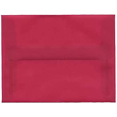 JAM Paper® A2 Invitation Envelopes, 4.38 x 5.75, Magenta Pink Translucent Vellum, 50/Pack (1591626I)