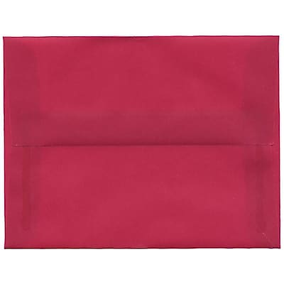 JAM Paper® A2 Invitation Envelopes, 4 3/8 x 5 3/4, Magenta Pink Translucent Vellum, 50/pack (1591626I)