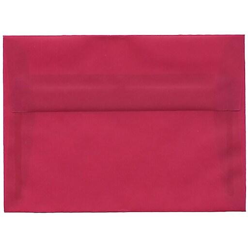 JAM Paper® A7 Translucent Vellum Invitation Envelopes, 5.25 x 7.25, Magenta Pink, 50/Pack (1591720I)