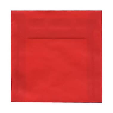 JAM Paper® 6.5 x 6.5 Square Envelopes, Red Translucent Vellum, 50/Pack (1592122I)