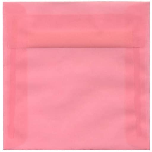 JAM Paper® 6 x 6 Square Translucent Vellum Invitation Envelopes, Blush Pink, Bulk 250/Box (1591931H)