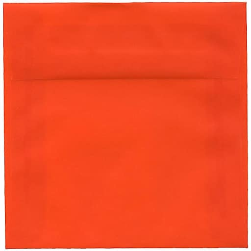 JAM Paper® 6 x 6 Square Translucent Vellum Invitation Envelopes, Orange, 50/Pack (1591933I)