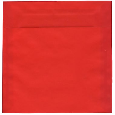 JAM Paper® 8.5 x 8.5 Square Envelopes, Red Translucent Vellum, 50/Pack (1592165I)