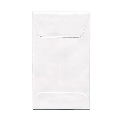 JAM Paper® #3 Coin Envelopes, 2.5 x 4.25, White, 250/box (1623183H)