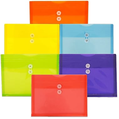 JAM Paper® Plastic Envelopes with Button String Tie Closure, Letter Booklet, 9.75x13, Assorted Colours, 12/Pack (218b1rgboypg)