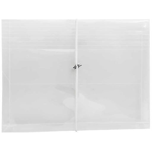 JAM Paper® Plastic Envelopes with Elastic Band Closure, 9.75 x 13 with 2.625 Inch Expansion, Clear, 12/Pack (218E25CLB)