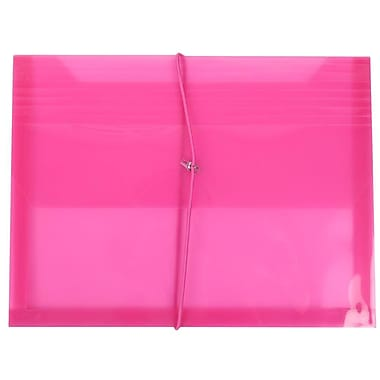 JAM Paper® Plastic Envelopes with 2 5/8 Exp, Elastic Closure, Letter Booklet, 9.75 x 13, Fuchsia Pink Poly, 12/pack (218E25FUB)