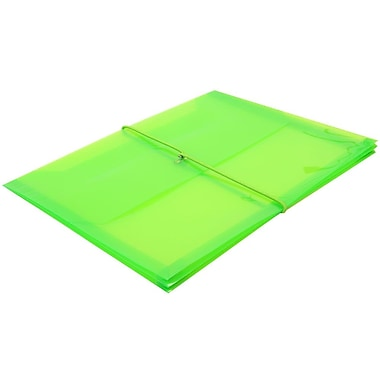 JAM Paper® Plastic Envelopes with 2.63 Expansion, Elastic Closure, Letter Booklet, 9.75 x 13, Lime Green, 12/Pack (218E25lig)