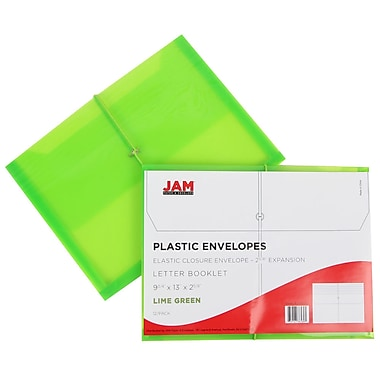 JAM Paper® Plastic Envelopes with 2 5/8 Expansion, Elastic Closure, Letter Booklet, 9.75x13, Lime Green, 12/pack (218E25LIB)