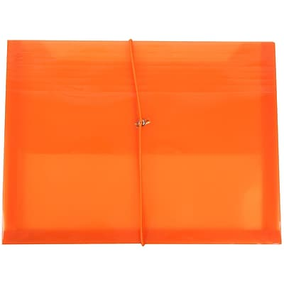 JAM Paper® Plastic Envelopes with 2 5/8 Expansion, Elastic Closure, Letter Booklet, 9.75 x 13, Orange Poly, 12/pack (218E25ORB)