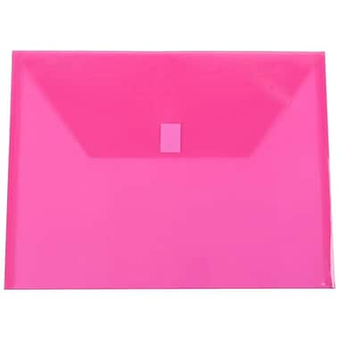 JAM Paper® Plastic Envelopes with VELCRO® Brand Closure, Letter Booklet, 9.75 x 13, Fuchsia Pink Poly, 12/Pack (218V0FU)