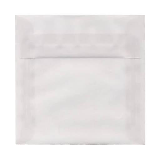 JAM Paper® 7.5 x 7.5 Square Translucent Vellum Invitation Envelopes, Clear, Bulk 250/Box (81981H)