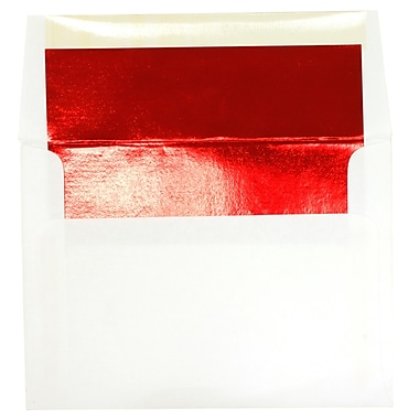 JAM Paper® A6 Foil Lined Envelopes, 4.75 x 6.5, White with Red Lining, 250/Pack (3243655H)